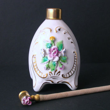 Delicate Vintage Perfume Bottle - White Porcelain with Embossed Flowers