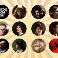 AMERICAN HORROR STORY Set of 12 - 1 Inch Pinback Buttons or Magnets