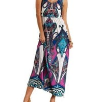 Ivory Combo Scarf Print Blouson Maxi Dress by Charlotte Russe