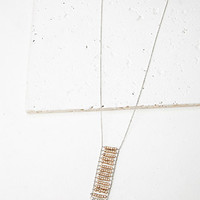 Beaded Matchstick Pendant Necklace