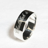 Personalized Ring .925 Sterling Silver Ring Engraved Ring 6 mm width