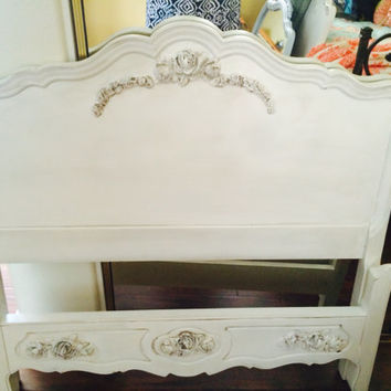 Two Vintage French Provincial Beds - Two Matching Twin Beds by Bassett
