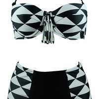 Cocoship Retro Black White Geometric Patterns High Waist Bikini Tassel Swimsuit(FBA)