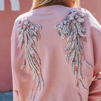 """""""Miss Sixty"""" Women Angel Wings Personality All-match Fashion Letter Logo Embroidery Long Sleeve Sweater Tops"""