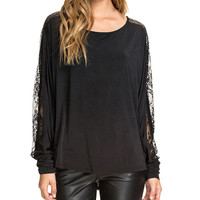 Lace Mesh Embroidered Long Sleeve T-shirt