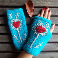 Knitted Gloves, crochet, Turquoise, Hand Warmer, Winter Gloves, Flowers Gloves, Knit Women Gloves Arm Warmers, Gift Ideas, Christmas Gift
