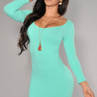 Scoop Neck Long Sleeve Bodycon Midi Dress