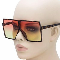 Oversized XXL Flat Top Huge Big SHIELD Style Square Sunglasses Men Women Retro