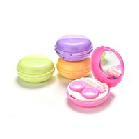 Macaroon Plastic Contact Lens Box Holder Mirrored Contact Lens Case Lot Eye Lens Case Contact Lens Travel Case 5 Colors