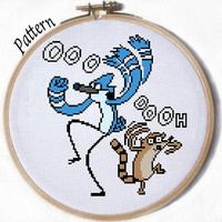 Mordecai & Rigby Regular Show Cross stitch pattern