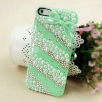 ZLCY Rhinestone and Pearl Lace Case with Bowtie for iPhone 5