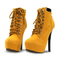 Tan High Heels Sexy Lace Up Side Zipper Ankle Bootie Solid Boots
