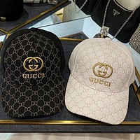 GUCCI 2020 new gold thread embroidered logo baseball cap