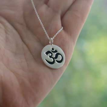 Silver Om Pendant Necklace - Yoga Jewelry . Fine Silver Pendant on Sterling Silver Chain . Outdoor & Sportsman . Gift Ideas for Her