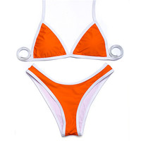 Sexy Retro Classic Triangle Strappy Top with High Cut Bottom Bikini Set