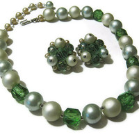 Japan Vintage Green Necklace and Clip Earring Set