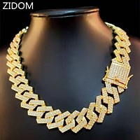 20mm Men Hip Hop Chain Necklace pave setting Rhinestone Male Hiphop iced out bling rhombus Cuban Chains Necklace fashion jewelry