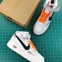 Off White X Nike Air Force 1 Mid White Sport Shoes - Best Online Sale