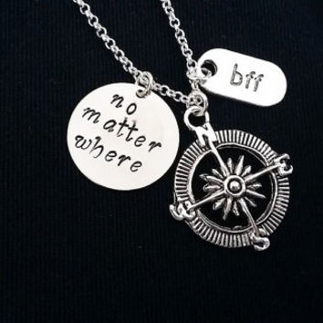 Compass Necklace No Matter Where Personalized Jewelry Friendship graduation Gift Long Distance Relationship Nautical Necklace Travel bff