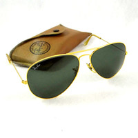 Authentic Ray Ban Aviator Sunglasses by Bausch and Lomb. 62mm