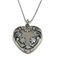 Silver Heart Necklace, Sterling Puffy Heart Charm, Fancy Heart Pendant, Hearts and Flowers, Gift for Mom, Girlfriend Gift, Love Token