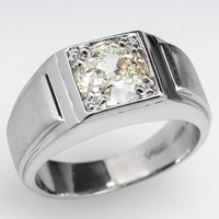 1.4 Carat Diamond Solid Platinum Mens Antique Ring