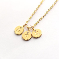 Tiny Gold initial Necklace, Initial charm Necklace, 3 initial charms necklace, best friends gift