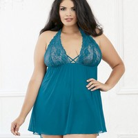 Plus Size Sexy Mesh and Lace Halter Babydoll