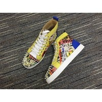 Christian Louboutin Cl Lou Spikes Men's Flat Version Multi Patent Leather 3190611cma3 19w Sneakers