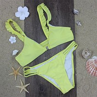 Yellow Women Retro Front Fasten Bikini Swimsuit Swimwear Ruffled Lace Strapped Bikini
