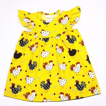 Bulk wholesale spring dress boutique toddler girls ruffle pearl dress cute chicken print boutique clothing