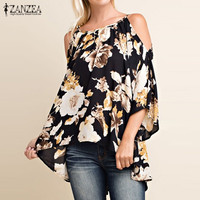 Women Sexy Blouses Shirts Ladies Sexy Off Shoulder 3/4 Flare Sleeve Blusas Tops Elegant Print Pullovers