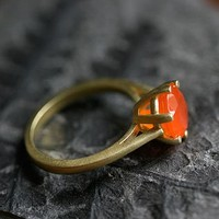 Gold Carnelian Gemstone Ring