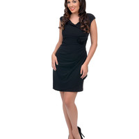 Black Cap Sleeve Fitted Cocktail Dress
