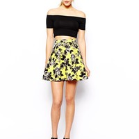 ASOS Skater Skirt In Quilted Floral Print