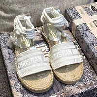 DIOR Popular Women Retro Canvas Embroidery Sandals Shoes-1