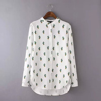 White Cactus Print Stand Collar Long Sleeve Shirt
