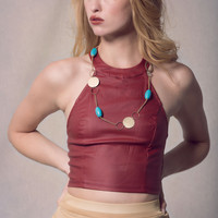 Burgundy Halter Top