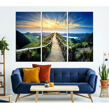 Thrilling Path to Sunset Large Wall Art Landscape Canvas Print
