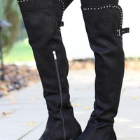 Over the Knee Stud Trim Boot