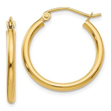 14K Yellow Gold Lightweight 20mm x 2mm Hoop Earrings