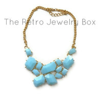 Mint stone necklace new years statement bib with gold chain necklace with sparkle