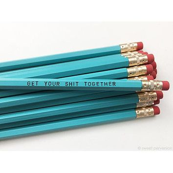 Get Your Shit Together Pencil Set in Turquoise | Set of 5 Funny Sweary Profanity Pencils