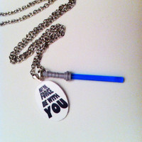 May The Force Be With You With Blue Light Saber - Star Wars - Necklace