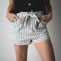 Black and White Striped High Rise Shorts