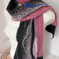 Male black pink scarf, Male Unique Scarf, male long shawl, Male boho scarf, Black pink scarf, Men's wool scarf, Men's Valentine's gift