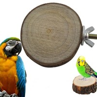 Round Wooden Squirrel Parrot Bird Perch Stand Platform Pet Bird Hanging Toy