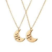 Lux To The Moon & Back BFF Star Crescent Celestial Valentine Heart Best Friends Forever Necklace Set (2 PC)
