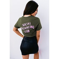 """Social Distancing Club"" Graphic Tee (Olive)"