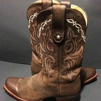 Tony Lama VF6007 Sorrel Tucson Vaquero Brown Leather Western Cowboy Cowgirl Boots Wome